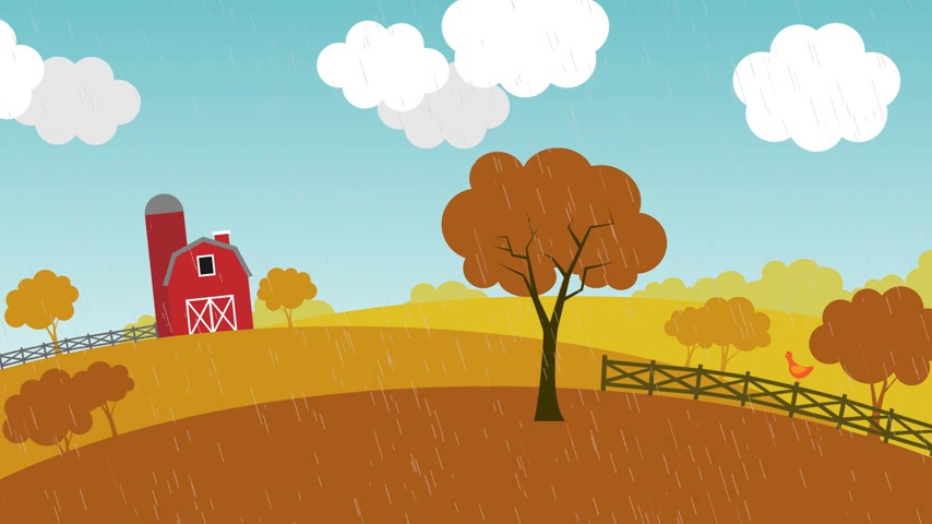 crescimento : Loopable animation presents the change of seasons on the farm. Stock Footage