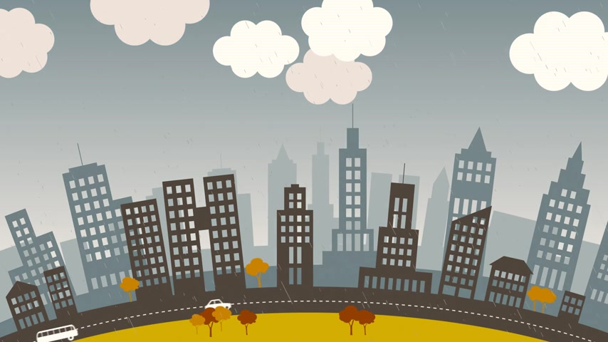 változás : Loopable animation presents the change of seasons in the city.