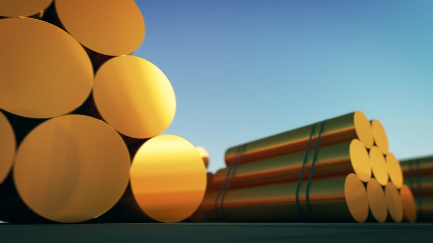 coppery : Loopable animation presents stacks of cylindrical copper billets. In background cloudless blue sky. Stock Footage
