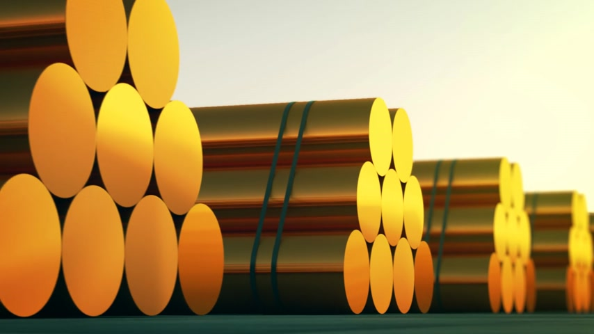 warsztat : Loopable animation presents stacks of cylindrical copper billets. In background cloudless dawn sky. Wideo