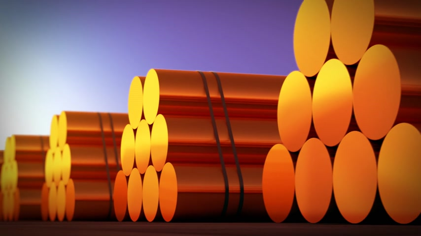 coppery : Loopable animation presents stacks of cylindrical copper billets. In background clear sunset sky.