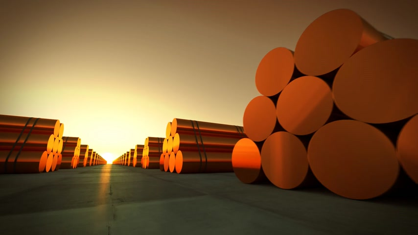 coppery : Loopable animation presents rows of cylindrical copper billets in front of setting sun. Stock Footage