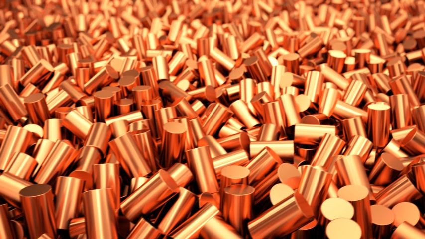 медь : Close up of pure copper cylindrical granulate. CG loopable animation.