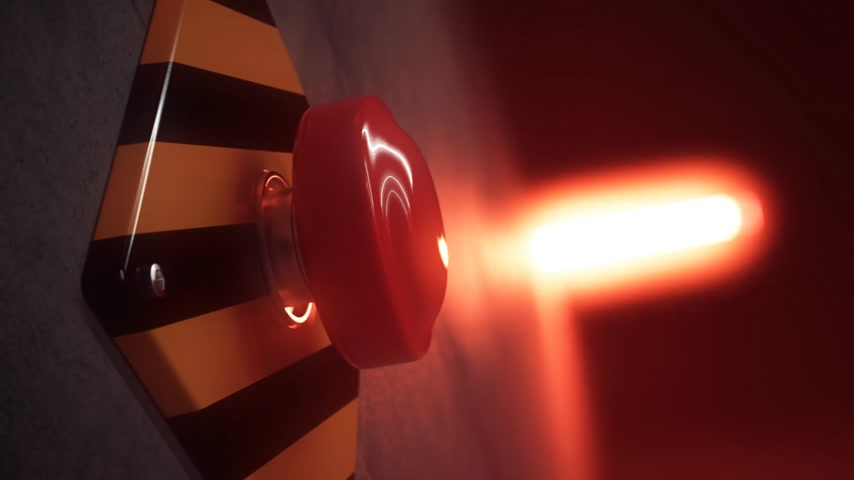 кнопка : Low angle shot of big red button during emergency situation. Red emergency light flashing in background. Seamless CG animation.