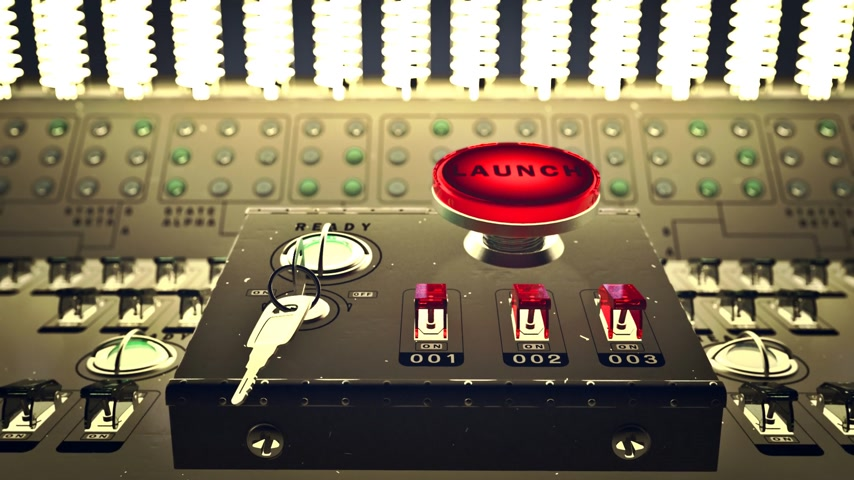 kezdődik : Animation of large red button marked - Launch - on a control console with three small electric switches designated by numbers Stock mozgókép