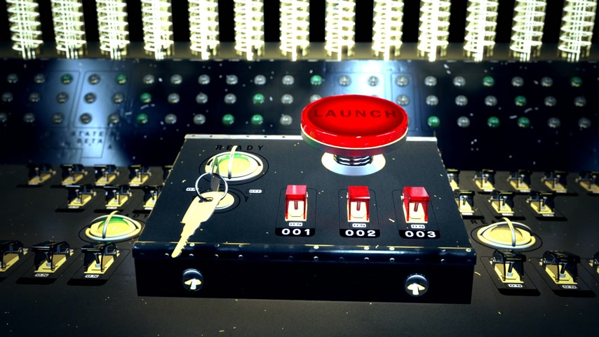 beállítás : Animation of large red button marked - Launch - on a control console with three small electric switches designated by numbers Stock mozgókép