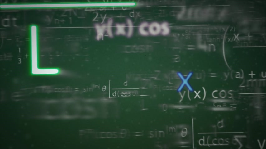 aritmética : Animation presents mathematical formulas which are shining and changing color near the camera.