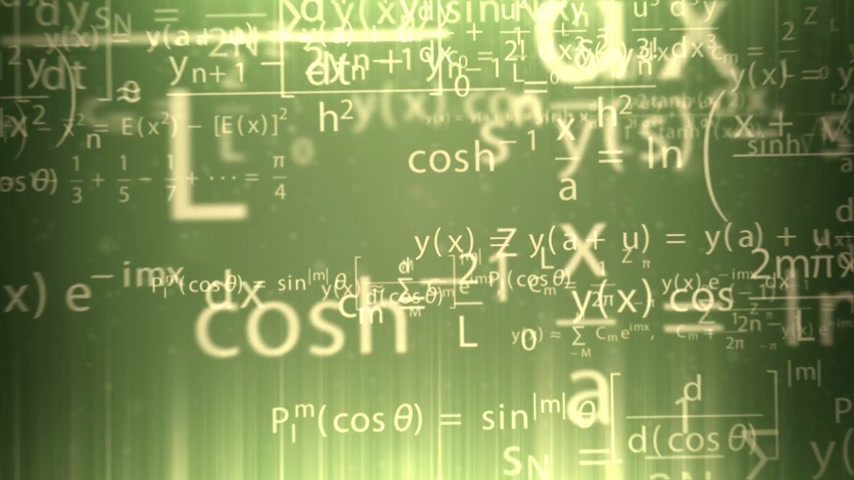 aritmética : Animation presents mathematical formulas shining gold on the green background. Stock Footage