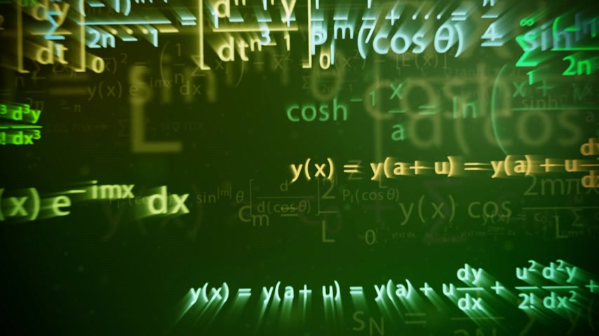matemática : Animation of a chalkboard with colorful maths formulas with motion blur effect. Symbol of mathematical education