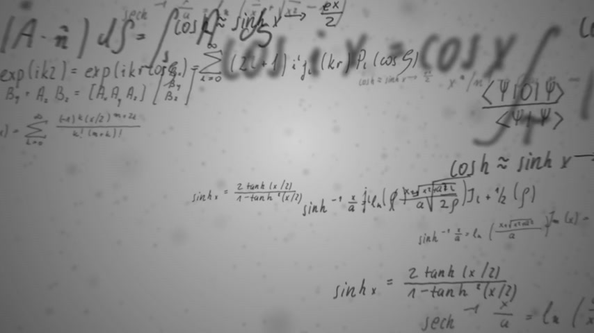 eşitlik : Animation presents handwritten mathematical formulas on gray background flying through the camera.