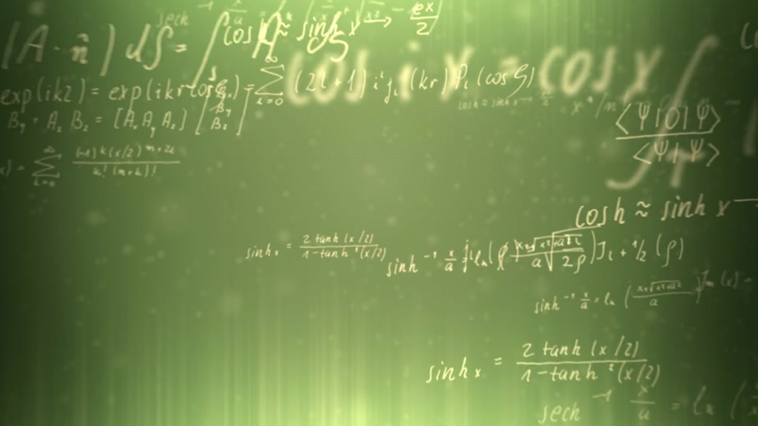 eşitlik : Animation presents handwritten mathematical formulas on green background flying through the camera. Stok Video