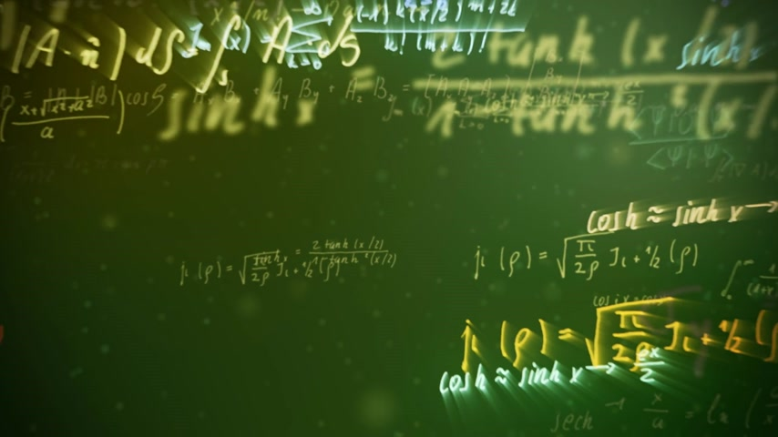 jumble : Animation of a chalkboard with colorful maths formulas with motion blur effect. Symbol of mathematical education
