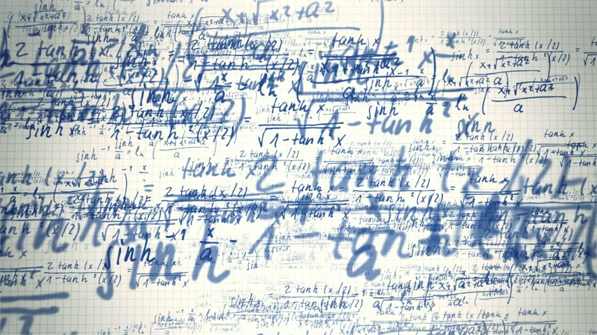 notebooklar : Animation presents drawing mathematical formulas on notebook sheet background.