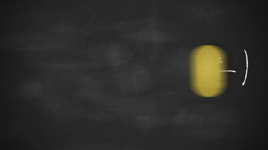 prova : Animation presents mathematical formulas writing on a black board by moving chalk and erasing by a rubber. Stock Footage