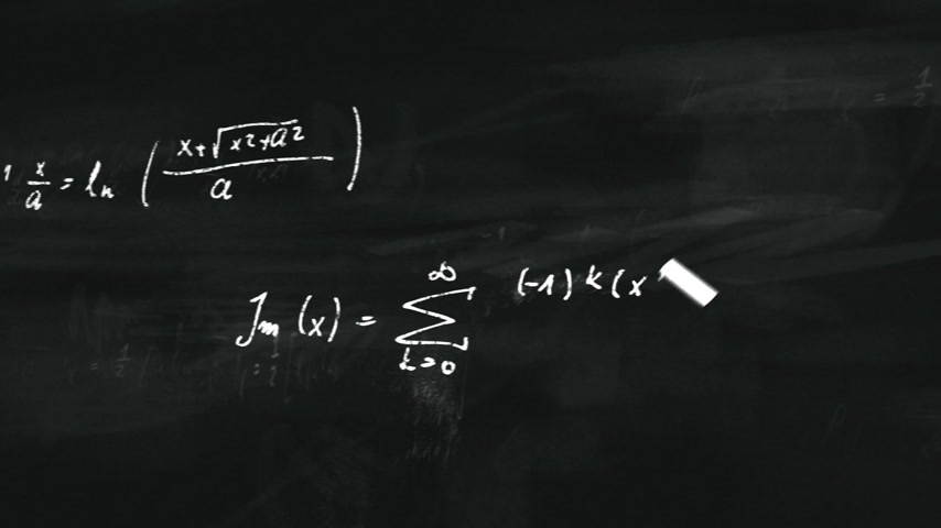 eşitlik : Animation presents mathematical formulas writing on a black board by moving chalk.