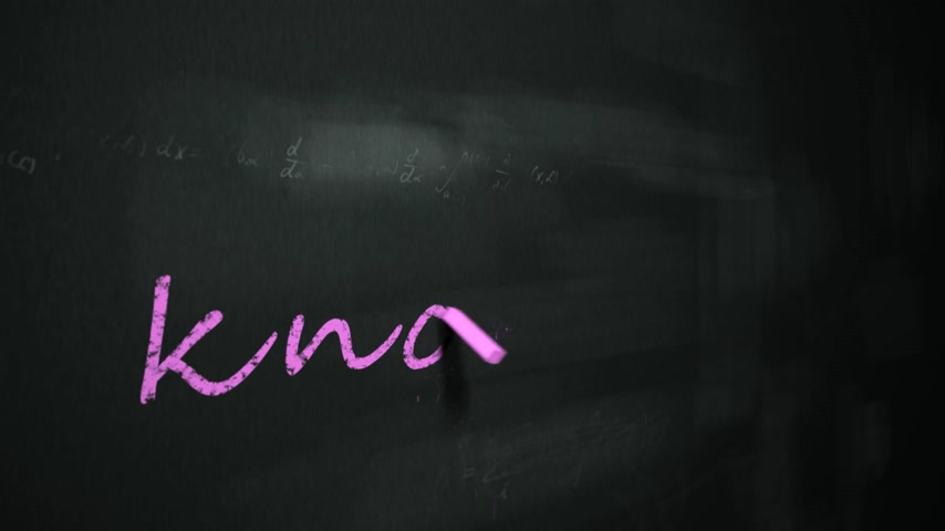 znalost : Animation of drawing word knowledge on chalkboard.