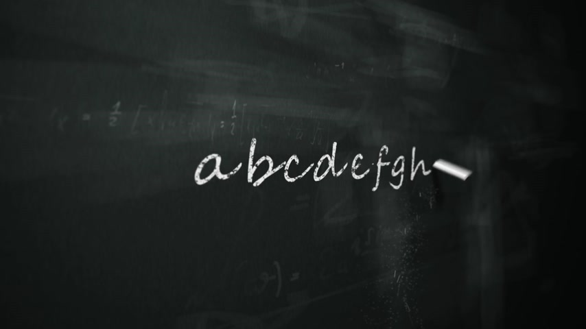 alphabet : Animation of drawing word alphabet on chalkboard.