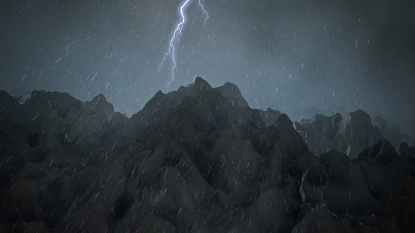 montanhas rochosas : Smooth camera motion along path over mountains during blizzard with streak of lightening. Stock Footage