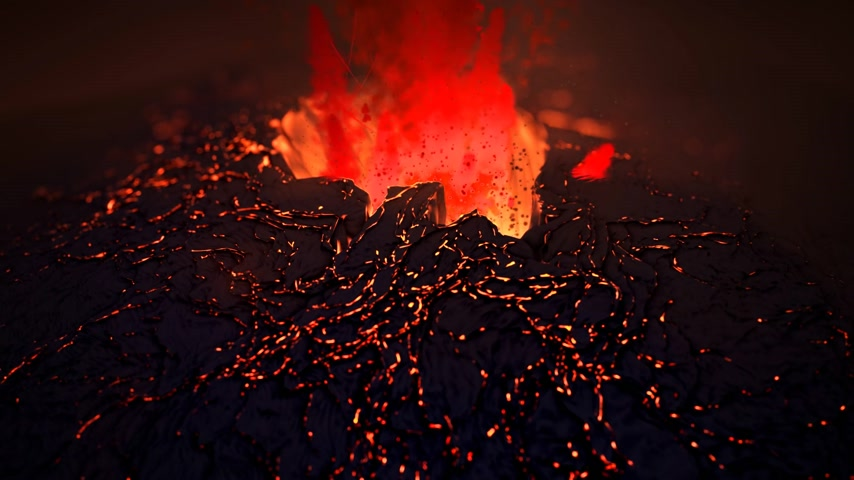 volkan : Extreme close up of spectacular eruption CG volcano.