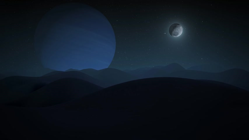 triton : View of Neptune from surface one of its moons - Triton. Slow camera movement on irregular surface of other moon, Stock Footage
