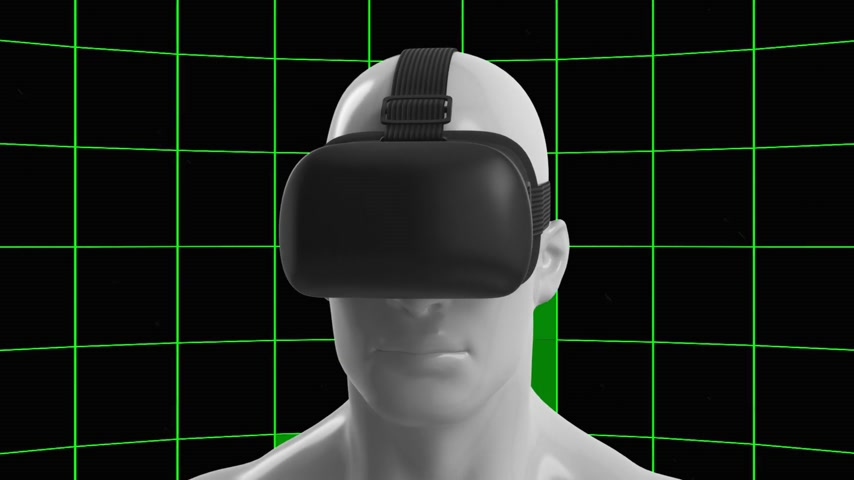 realidade : Camera Move Around The Virtual Reality Headset. Green screen.