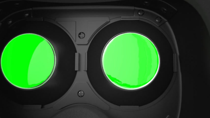 valóság : Camera Move Around The Virtual Reality Headset. Green screen.