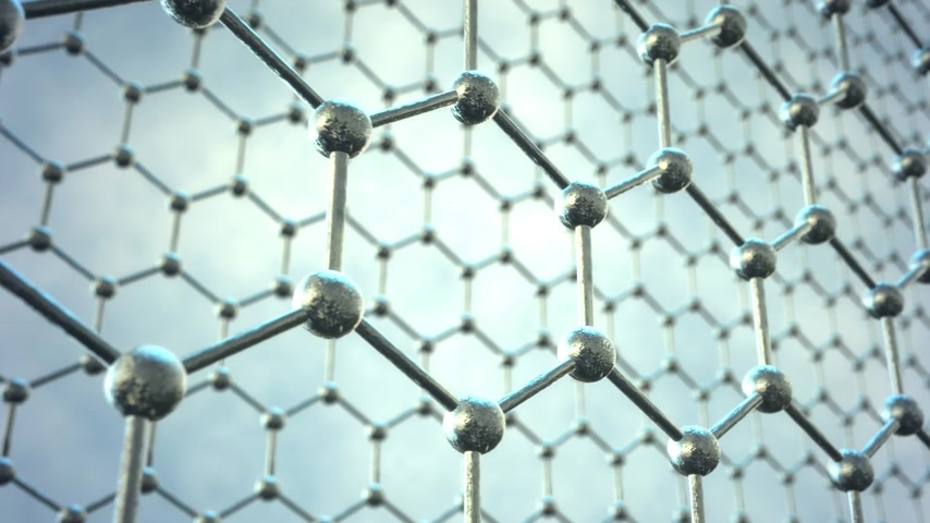 chemistry : Seamlessly loopable animation of the graphene structure. Two rows of reflective silver carbon atoms in shape of honeycomb.