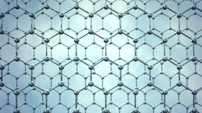 grafite : Seamlessly loopable animation of the graphene structure. Two rows of reflective silver carbon atoms in shape of honeycomb.