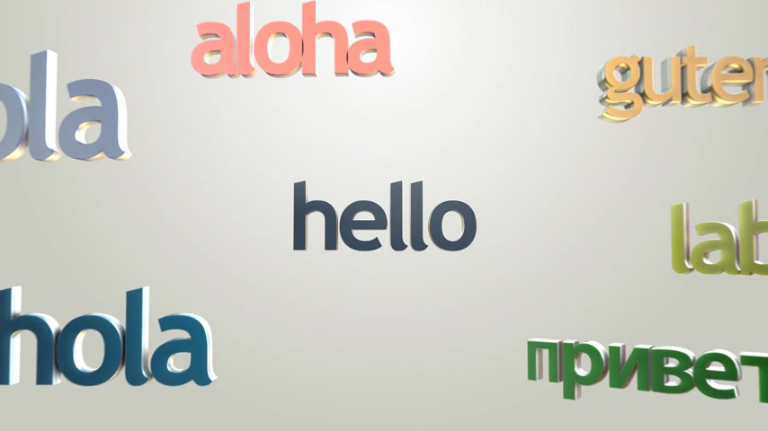 "diversidade : Language learning concept with three dimensional words. ""Hello"" and many languages greetings. Colorful typography on bright background."