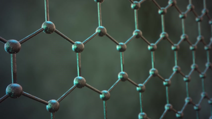 nanotechnologia : Seamlessly loopable animation of the graphene structure. Zoom Out of reflective dark carbon atoms in shape of honeycomb.