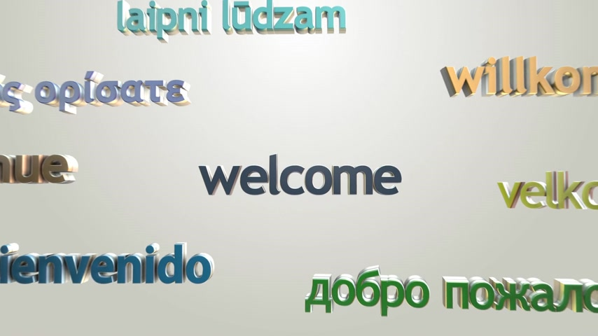 "aprender : Language learning concept with three dimensional words. ""Welcome"" and many languages greetings. Colorful typography on bright background."