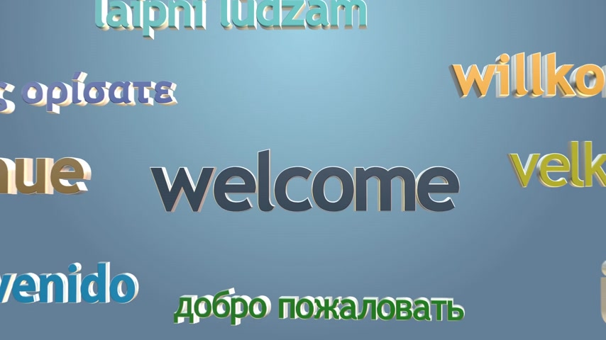 "İngilizce : Language learning concept with three dimensional words. ""Welcome"" and many languages greetings. Colorful typography on bright background."