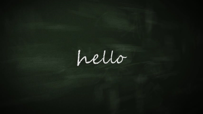 olá : Chalk drawing Hello in six different languages on blackboard. Multicolored chalk on green chalkboard.