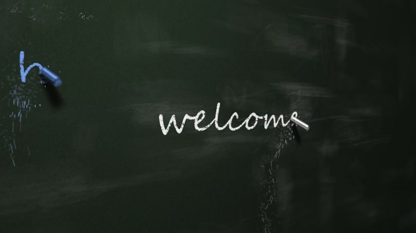 six worlds : Chalk drawing Welcome in six different languages on blackboard. Multicolored chalk on green chalkboard.