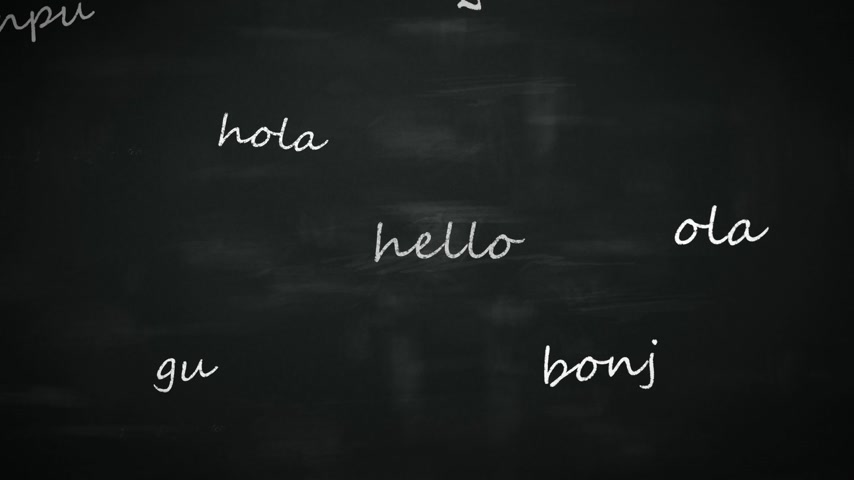 uczenie się : Language learning concept with a class blackboard covered in colorful text depicting the word - Hello - in multiple different international languages with random orientation Wideo