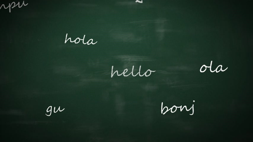 fogadtatás : Language learning concept with a class blackboard covered in colorful text depicting the word - Hello - in multiple different international languages with random orientation Stock mozgókép