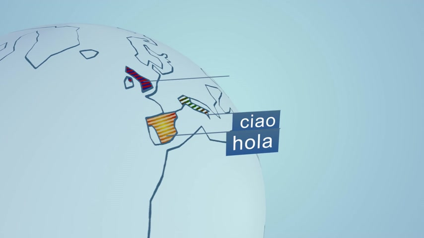 "zahraniční : Word ""hello"" in fourteen widely spoken languages in the World. Colorful scheme representation on globe."