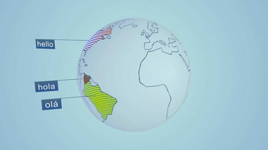"mapa do mundo : Word ""hello"" in fourteen widely spoken languages in the World. Colorful scheme representation on globe."