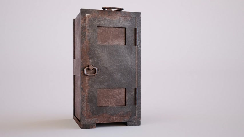 strongbox : Old, rusty, empty steel safe with unlocked door in a conceptual image of finances, wealth, burglary. Stock Footage