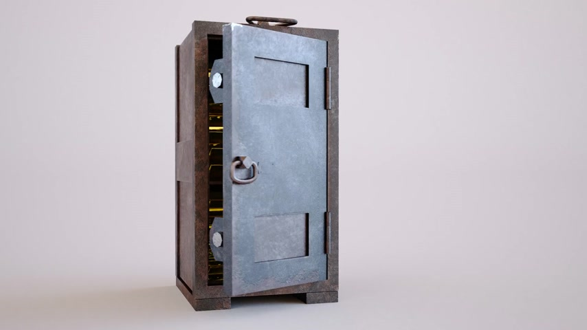 strongbox : Gold bullion bars stacked tightly in an old safe with its door standing wide open in a conceptual image of finances and wealth