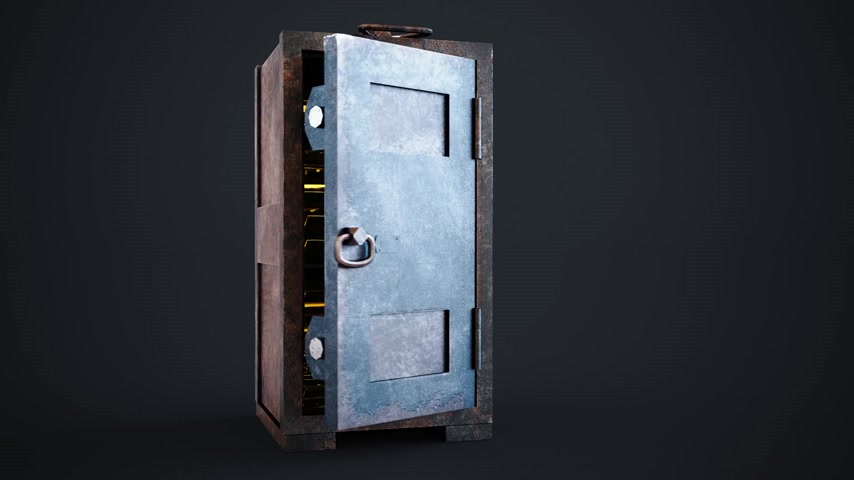 coffer : Gold bullion bars stacked tightly in an old safe with its door standing wide open in a conceptual image of finances and wealth