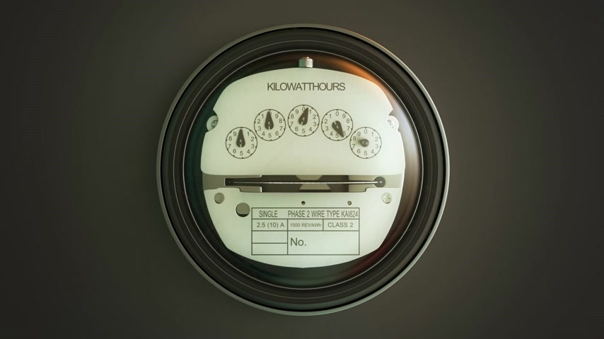 utilidade : Typical residential analog electric meter with transparent plactic case showing household consumption in kilowatt hours. Electric power usage. Stock Footage