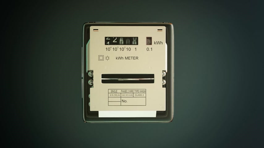 mennyiség : Analog electricity meter with transparent plactic case showing household consumption in kilowatt hours. Electric power usage. Stock mozgókép