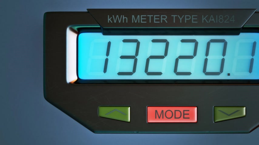 ток : Digital electricity meter showing household consumption in kilowatt hours. Electric power usage.