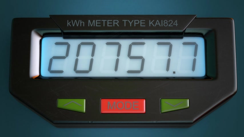 mennyiség : Digital electricity meter showing household consumption in kilowatt hours. Electric power usage.