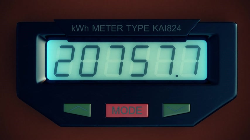 horas : Digital electricity meter showing household consumption in kilowatt hours. Electric power usage.