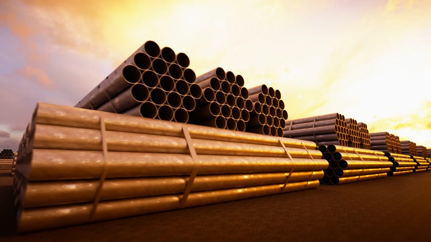 marco internacional : Seamless background animation of stacked steel pipes, tubes used in the construction industry.