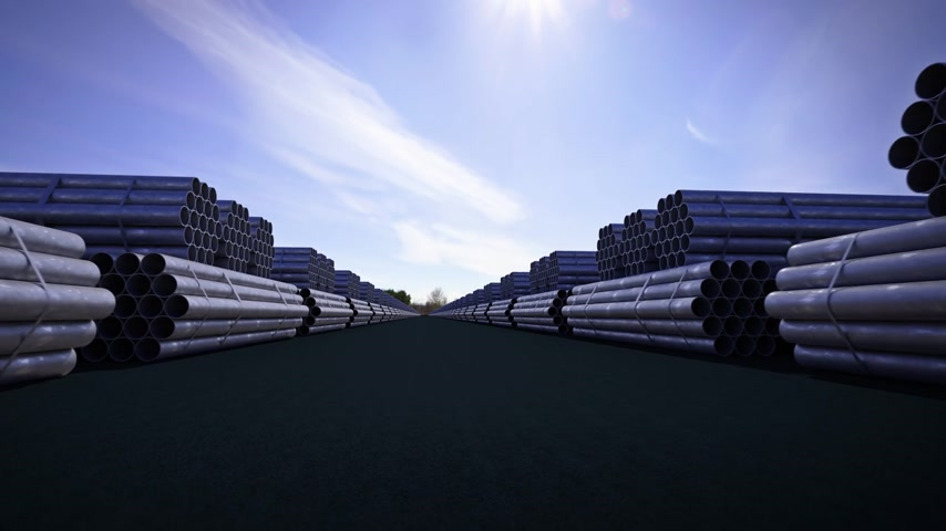 marco nacional : Seamless background animation of stacked steel pipes, tubes used in the construction industry.