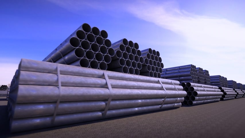 csővezeték : Seamless background animation of stacked steel pipes, tubes used in the construction industry.