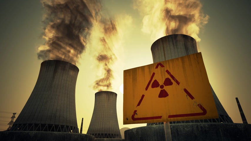 gerador : Nuclear power plant radioactive sign mounted at the foot of three large tall cement chimneys exhausting smoke and fumes into the atmosphere, Sunset.
